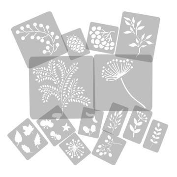 Opakovane použiteľné farby šablóny 14x jesenné rastliny