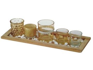 Svietnik na čajové sviečky SADA 5 ks Zásobník kamienky