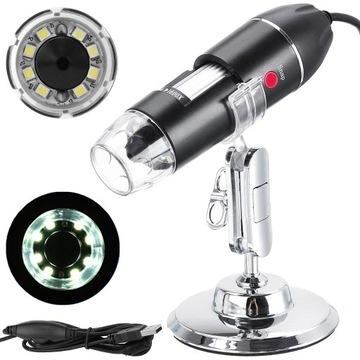 Aproximácia digitálneho mikroskopu USB 1600x 2MP 8 LED
