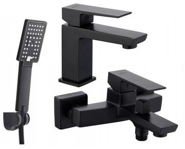 Vaňa BLACK + umývadlová batéria sprchová hlavica BLACK