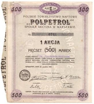 P OIL POLPETROL VO VARSAW 500 MAREK 1920