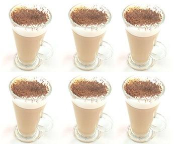 Sada 6ks kávových pohárov latte okuliare