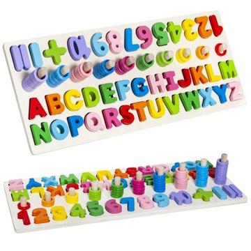 Drevené puzzle triedičové bloky abecedy a čísla