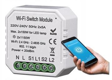 Povolené relé TUYA WiFi s dvojitým prepínačom
