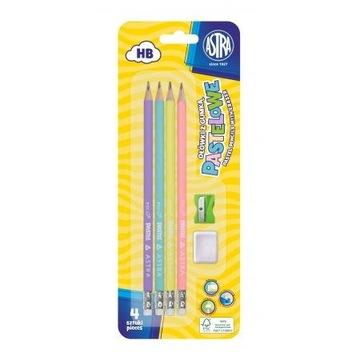 Pastelové ceruzky 4 ks + guma a strúhadlo Astra