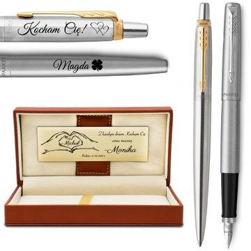Pen a pen Parker Jotter s koženým rytrom