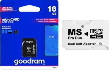Adaptér MS PRO DUO + ​​Goodram 16GB Class10 Sony PSP
