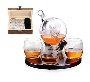 Sada whisky KARAFKA Globus + 4 kocky pohára