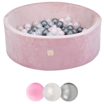 Ružový suchý bazén Velvet s 200 loptičkami Misioo