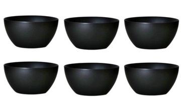 Bowl Set Big Dessert Service Black 6 EL