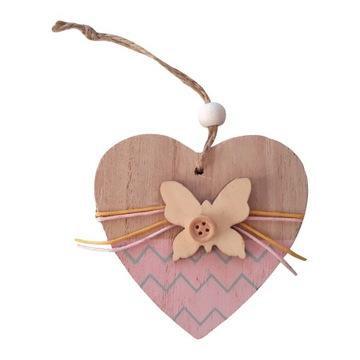 Drevené srdce Prívesok s motýľom - 14 cm
