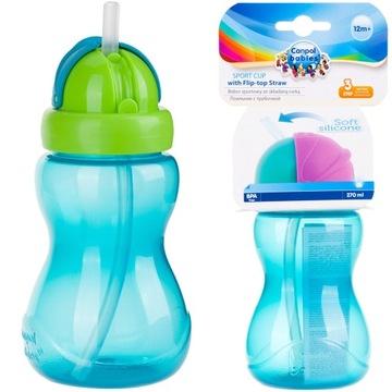 CANPOL pohár na fľašu so slamkou 270ml, tuba 4 farby