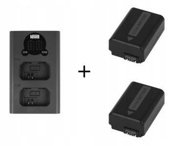 Duálne LCD +2 Nabíjateľné batérie pre Sony NP-FW50