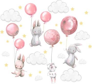 Samolepky na stenu Zajačiky balóniky pre deti L 3