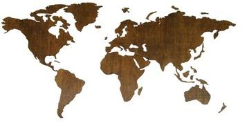 Drevená mapa sveta 120x60cm efekt 3D dekorácie