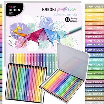Pastelové ceruzky v kovovej krabici KIDEA 24 FARIEB