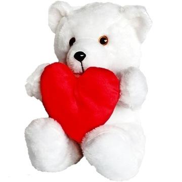 Biely medvedík so srdiečkom a veľkým plyšovým medvedíkom ako darček
