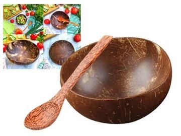 Prírodná drevená misa s škrupinou kokosom s lyžičkou