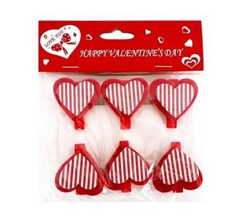 Drevené srdce Clip Paper Clip Srdce Stripes 3cm