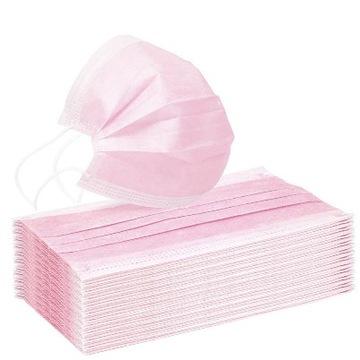 Masky Ochranné masky jednorazové ružové 50 ks