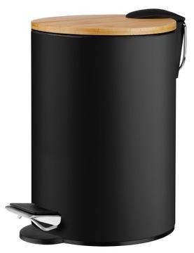 3L odpadkový kôš do kúpeľne, bambus, kov, čierna