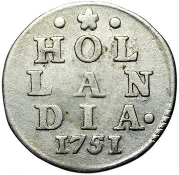 + Holandsko - 2 STUIVER 1751 - SILVER - STAN!
