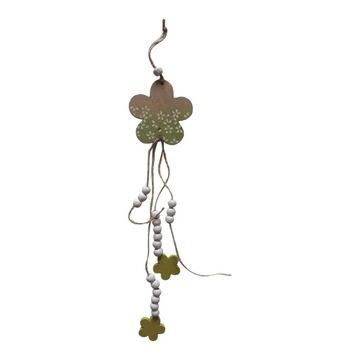Drevený prívesok dlhý kvet zelený 38 cm