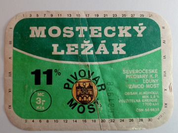 Pivovar Väčšina štítok - Mostecky Lezak
