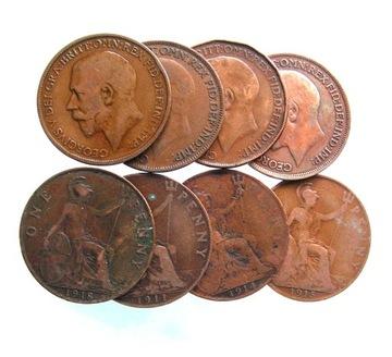 Anglicko, Jerzy V, jeden penny, rôzne vinobranie