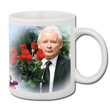 Hrnček prezident biely vtipný darček pis kaczyński