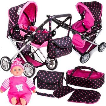 Kočík pre bábiky 3v1 do hĺbky + bábika pre bábätko