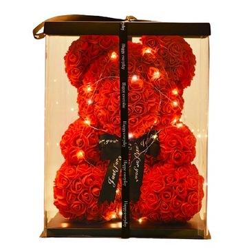 Medvedík z ruží 40 cm! DARČEK ROSE BEAR červený