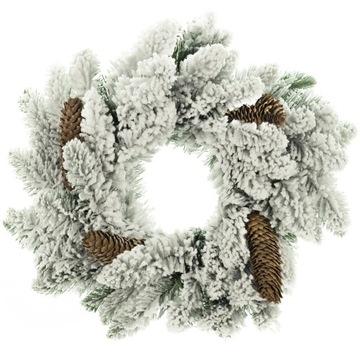 YourHomeStory vianočný veniec so šiškami Biela