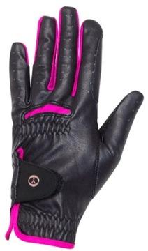 Jazdecké rukavice Nevada čierna a ružová m 24h