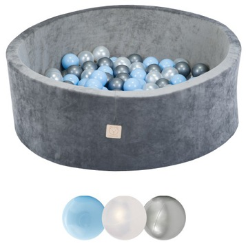 Suchý bazén 200 loptových loptičiek šedá zamat