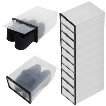 10 x Box Shoe Organizer with Flap