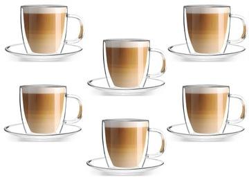 Šálky tepelných pohárov kávy latte čaj