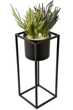 Stojan na kvety s kvetinovým čiernym loftovým stojanom na kvety