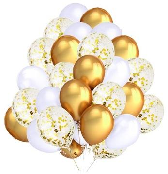 Sada balónov biely zlatý konfety spoločenstvo 30ks.