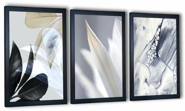 Sada 3 obrázkov v ráme. Abstrakcia. Biely kvet