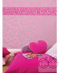 Motýle Motýle Ružové okrajové tapety s dekoratívnym prúžkom
