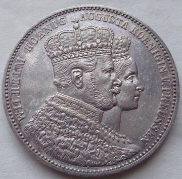 Nemecko 1 Talar 1861 Prusko - Koronácia - Wilhelm I