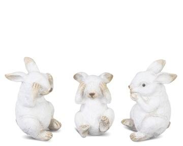 Zajačia figúrka biela veľkonočná ozdoba 8x4,5 cm