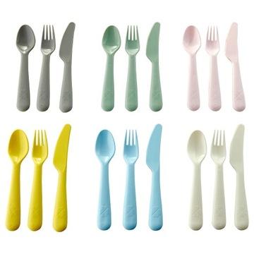 Sada príborov, lyžičiek, nožov, farebných vidličiek