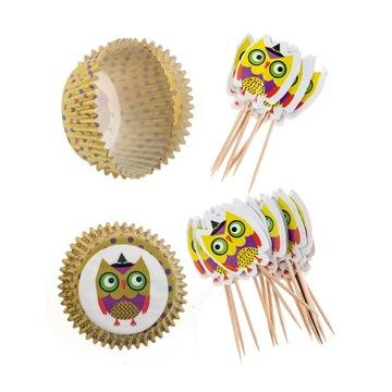 Dekoratívna sada na muffiny cupcakes Sovy 24 + 24 ks