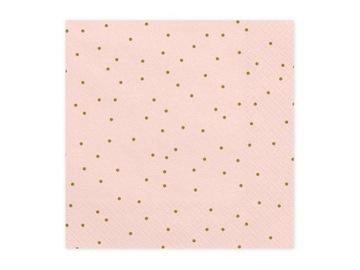 Obrúsky Kropeczki, svetloružové / zlaté, 33x33 cm
