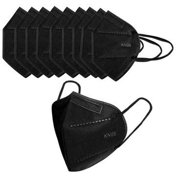 Maska KN95 Čierna ochranná maska N95 20 kusov