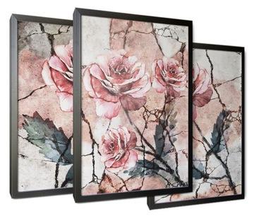 Maľby triptych pre izbu izba maľované kvety