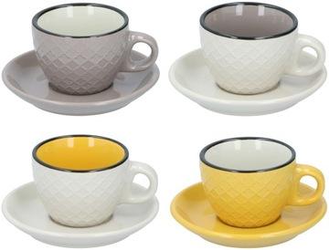 Kávová sada, espresso 4 + 4, šálky, taniere, 90ml