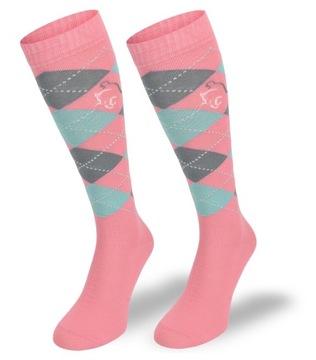 Klasické jazdecké ponožky v diamantoch 80% bavlna